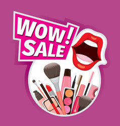wow sale cosmetics banner for shopping season vector image