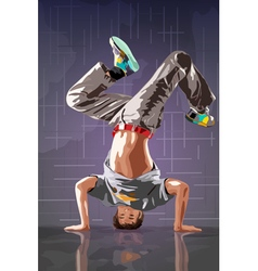 Young man break dance vector