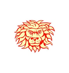 Angry Lion Big Cat Head Retro vector image vector image