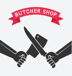 crossed butcher knives vector image vector image