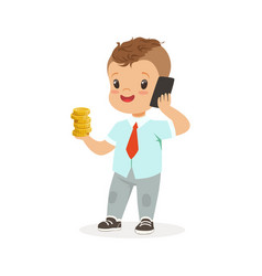 cute boy businessman talking on smartphone and vector image