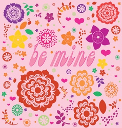 floral ornamental valentine print vector image vector image