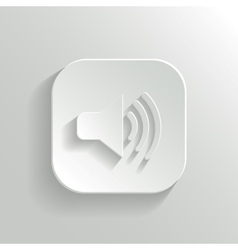 Speaker icon - white app button vector image vector image