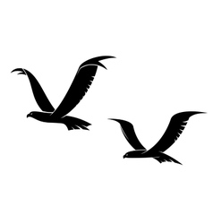 Two flying birds in silhouette vector image vector image