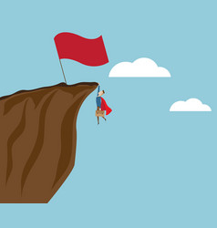 businessman climbing at cliff with big red flag vector image