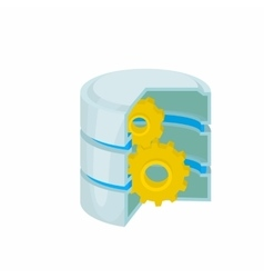 Database with gears icon cartoon style vector image vector image