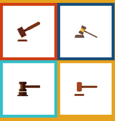 flat icon hammer set of court justice government vector image vector image