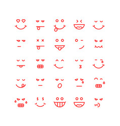 red thin line emoji icons vector image vector image