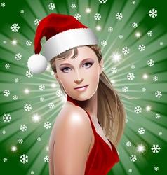 Santa girl with santa hat vector
