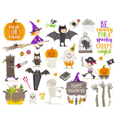 set of halloween vector image vector image