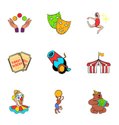 show icons set cartoon style vector image vector image