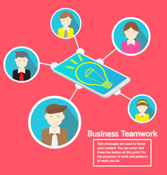 business smartphone social network and teamwork vector image