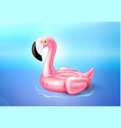 flamingo inflatable pool ring on sea water vector image
