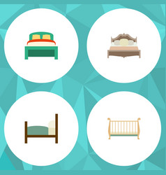 flat mattress set of furniture cot bed and other vector image