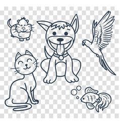 icons in the linear style veterinary clinic vector image