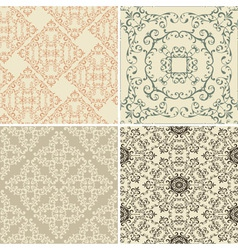 vintage floral seamless patterns vector image vector image