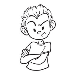 angry boy1 black vector image vector image
