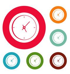 clock minimal icons circle set vector image