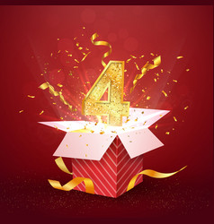 4 th year number anniversary and open gift box vector