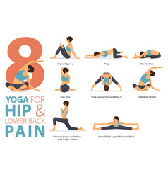 8 yoga poses for hip and lower back pain concept vector