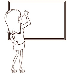 A simple sketch of a teacher writing vector image