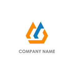 abstract shape initial company logo vector image