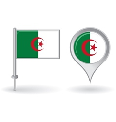 Algerian pin icon and map pointer flag vector