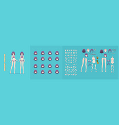 anime manga girl cartoon characters for animation vector image