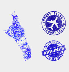 aviation composition andros island of vector image