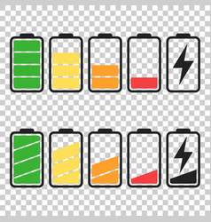 Battery icon set on isolated background symbols vector