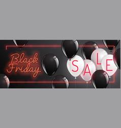 Black friday neon styleballoon banner sale vector