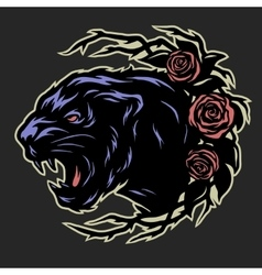 Black panther and roses vector