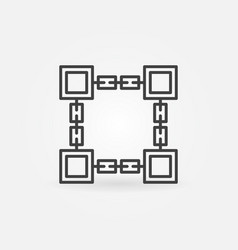 blockchain technology square icon in thin vector image