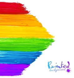 Bright rainbow paint strokes arrow background vector image