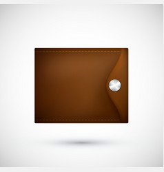 brown leather wallet realistic purse isolated on vector image