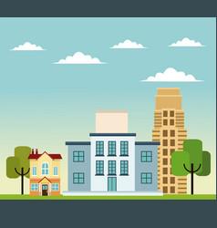 building home school business road trees design vector image