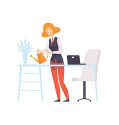 Businesswoman watering flowers while working in vector