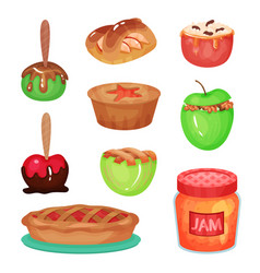 cartoon collection of various apple desserts vector image