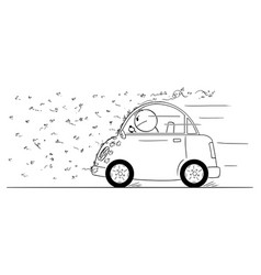 cartoon man driving car through swarm of vector image
