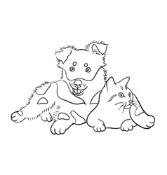 Cat and dog line art 05 vector