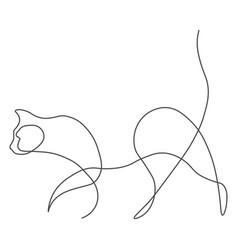 cat animal one line vector image