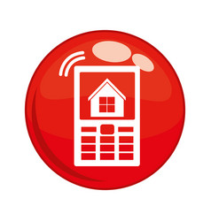 cellphone with house button icon vector image