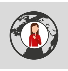 Character woman reporter news world graphic vector