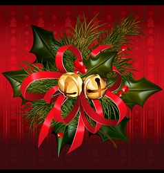Christmas jingle bells with red ribbon vector