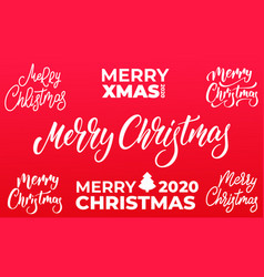christmas lettering set merry christmas text vector image