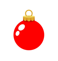 christmas ornament red ball isolated on white vector image