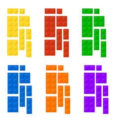 construction blocks plastic education game shape vector image