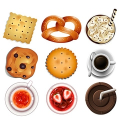 Cookies and different drinks vector image
