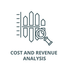 Cost and revenue analysis line icon linear vector