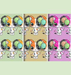 cute kitten pattern set design for party card vector image